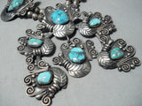 One Of The Best Vintage Native American Navajo Turquoise Sterling Silver Squash Blossom Necklace