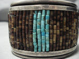 Incredible Vintage Native American Navajo Carved Turquoise Sterling Silver Bracelet Cuff Old