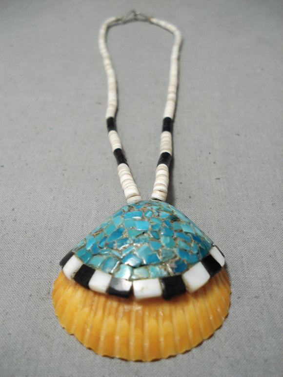 Native American Wonderful Vintage Santo Domingo Turquoise Sterling Silver Shell Necklace Old