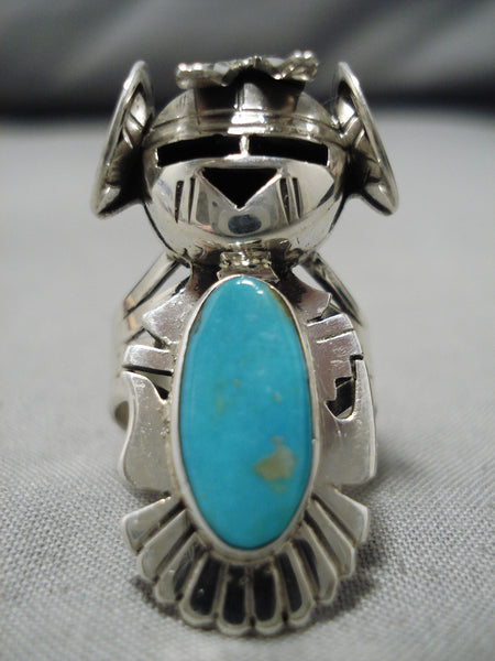 Remarkable Native Native American Navajo Nel Morton Blue Gem Turquoise Sterling Silver Ring