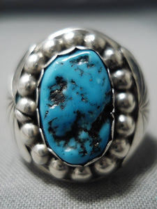 Huge Thicker Vintage Native American Navajo Men's Turquoise Sterling Silver Ring Old