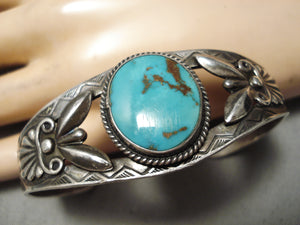 Early 1900's Vintage Native American Navajo Hand Repoussed Sterling Silver Turquoise Bracelet