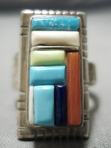 Important Vintage Native American Navajo Turquoise Coral & More Sterling Silver Ring