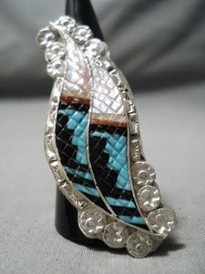 Astonishing Vintage Zuni Turquoise Sterling Silver Ring Old Native American