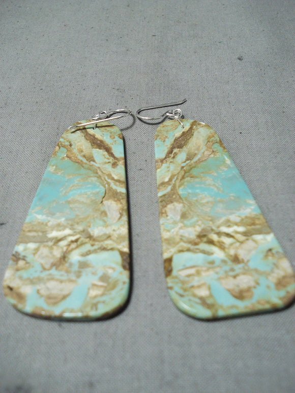 Native American Huge Royston Turquoise Slab Sterling Silver Earrings
