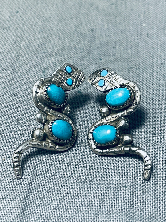 Slithering Snake Vintage Native American Zuni Turquoise Sterling Silver Earrings