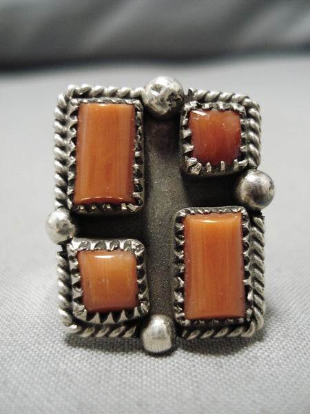 Striking Vintage Navajo Deepset Coral Sterling Silver Native American Ring