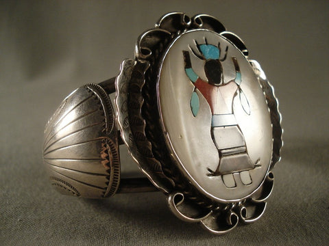 Dancing Kachina Huge Vintage Zuni Turquoise Native American Jewelry Silver Bracelet Old Vtg Sterling-Nativo Arts