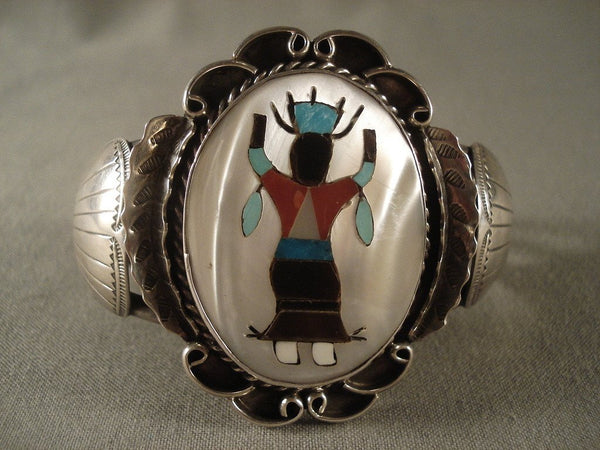 Dancing Kachina Huge Vintage Zuni Turquoise Native American Jewelry Silver Bracelet Old Vtg Sterling