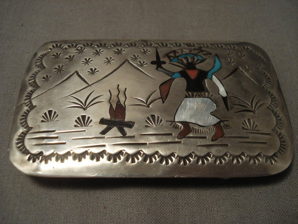 Dancing Kachina Vintage Zuni/ Navajo Native American Jewelry Silver Buckle