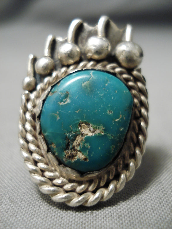 Amazing Vintage Native American Navajo Paw Cerrillos Turquoise Sterling Silver Ring Old