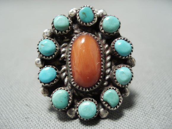 Incredible Vintage Native American Navajo Snake Eyes Turquoise Coral Sterling Silver Ring