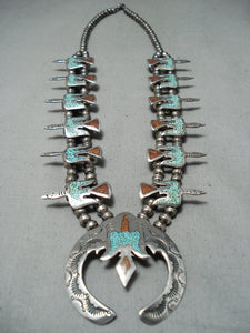 Native American Amazing Vintage Navajo Turquoise Inlay Sterling Silver Squash Blossom Necklace