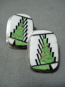 Tommy Jackson Vintage Native American Navajo Gaspeite Sterling Silver Inlay Earrings