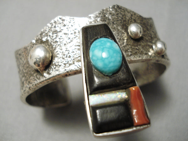 Heavy Thick Vintage Native American Navajo Turquoise Coral Sterling Silver Bracelet