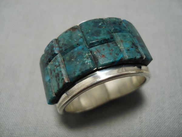 Important Native American Navajo Tommy Jackson Turquoise Inlay Sterling Silver Native Ring