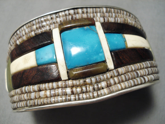 One Of The Biggest Best Vintage Native American Navajo Turquoise Heishi Sterling Silver Bracelet
