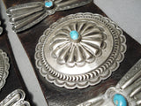 Heavy Authentic Vintage Native American Navajo Turquoise Sterling Silver Concho Belt Old