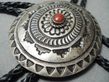 Huge Linda Marble Vintage Native American Navajo Coral Sterling Silver Detailed Bolo Tie