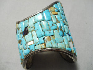Biggest Craziest Vintage Native American Navajo Turquoise Sterling Silver Inlay Bracelet Old