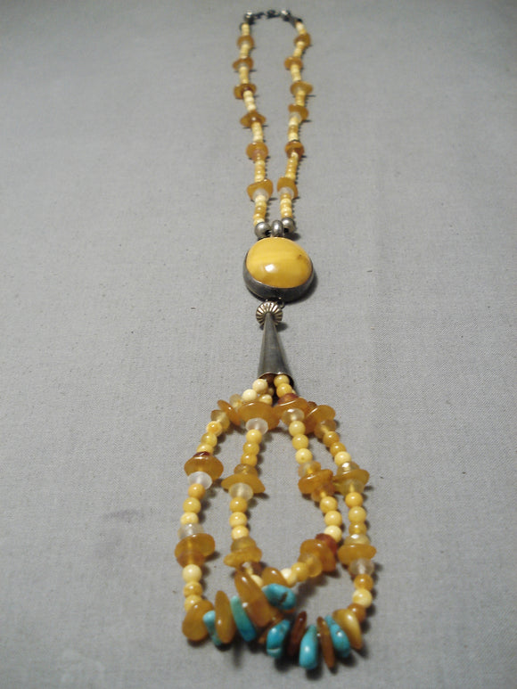 Important Orville White Vintage Native American Navajo Amber Sterling Silver Necklace