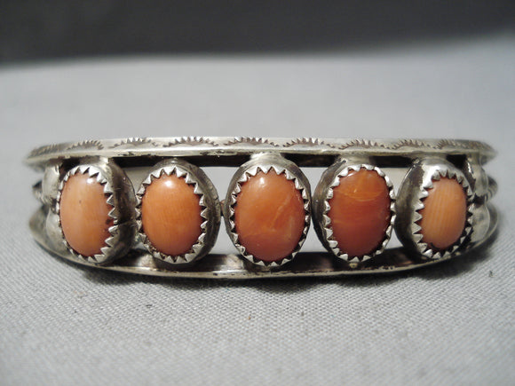 Striking Vintage Navajo Coral Sterling Silver Bracelet Native American