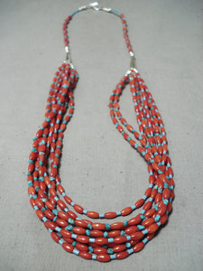 Amazing Vintage Native American Navajo Football Coral Turquoise Necklace