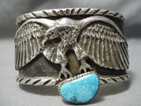 One Of The Best Native American Turquoise Sterling Silver Eagle Bracelet