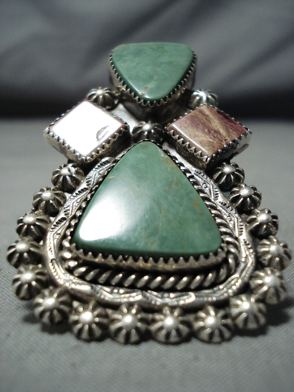 Custom Navajo Native American Turquoise Spiny Oyster Sterling Silver Ring