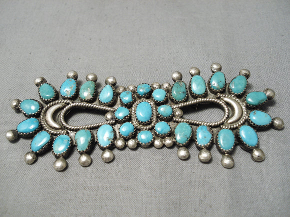 Earlier Vintage Navajo Turquoise Sterling Silver Native American Pin Old