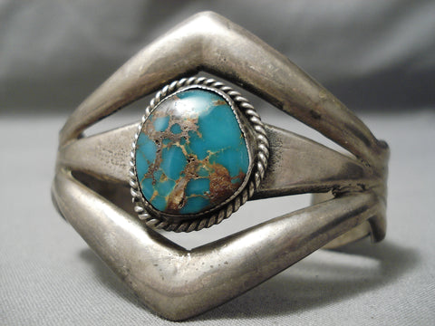 Thick And Sturdy!! Vintage Native American Navajo Turquoise Sterling Silver Bracelet Old