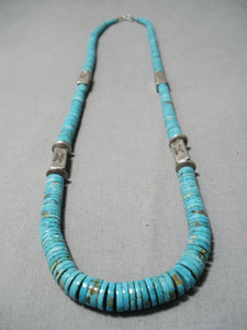 Opulent Vintage Native American Navajo Graduating Turquoise Sterling Silver Tubule Necklace