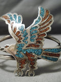 Detailed!! Vintage Native American Navajo Will Singer Eagle Turquoise Sterling Silver Bracelet