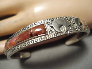 One Of Best Vintage Native American Navajo Bev Thomas Sterling Silver Inlay Bear Bracelet