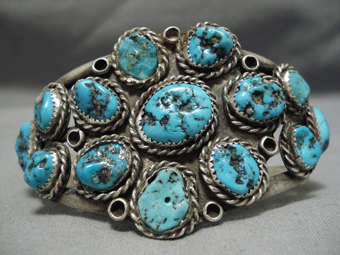 Tremendous Vintage Native American Navajo Chunky Turquoise Sterling Silver Bracelet Old