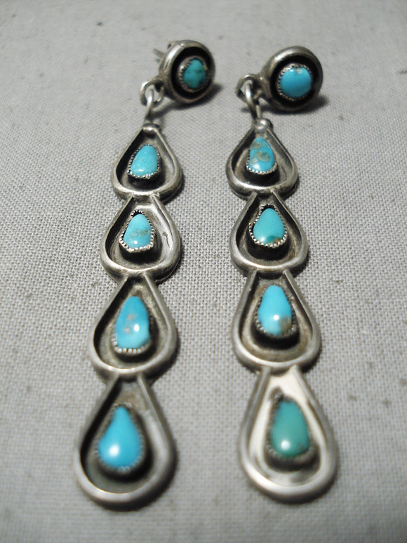 Exquisite Vintage Native American Zuni Blue Gem Turquoise Sterling Silver Earrings Old