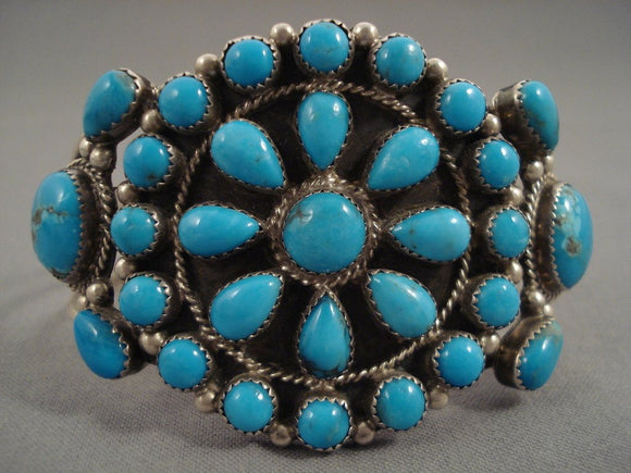 Deep Seaq Blue Vintage Navajo 'Tears Of Joy' Native American Jewelry Silver Bracelet-Nativo Arts