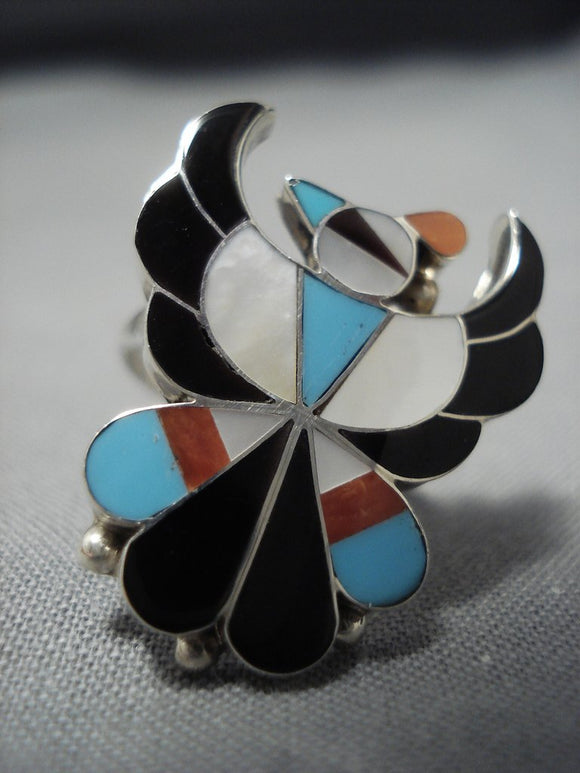 Detailed Detailed!! Vintage Native American Jewelry Zuni Turquoise Coral Sterling Siilver Ring-Nativo Arts