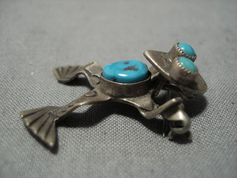 Detailed!! Vintage Native American Jewelry Navajo Toad Turquoise Sterling Silver Pin Pendant Old-Nativo Arts
