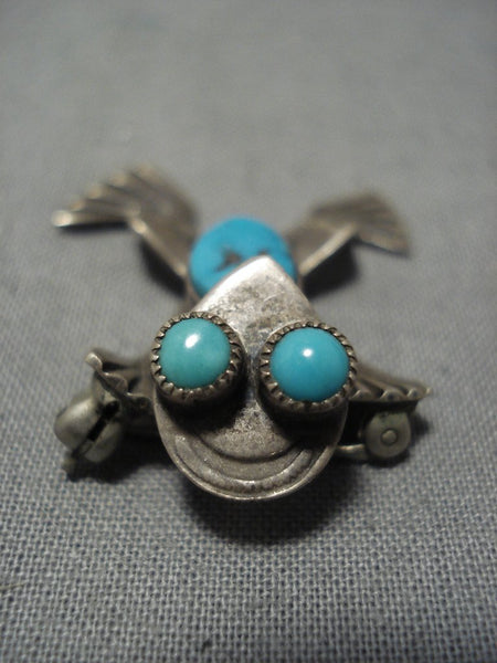 Detailed!! Vintage Native American Jewelry Navajo Toad Turquoise Sterling Silver Pin Pendant Old