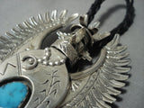 Detailed! Vintage Navajo Native American Jewelry jewelry Turquoise Sterling Silver Kachina Bolo Tie-Nativo Arts