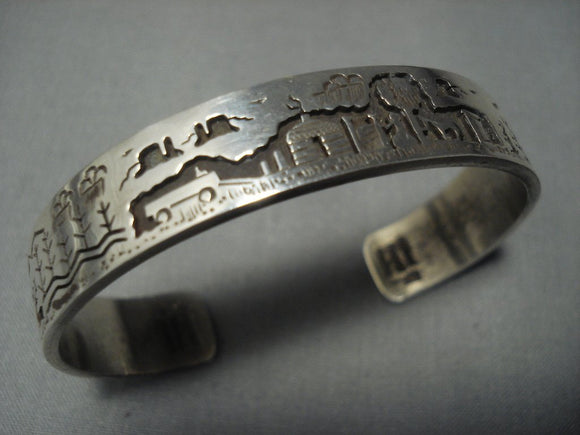 Detailed!! Vintage Navajo Sterling Native American Jewelry Silver Bracelet Old Pawn Cuff-Nativo Arts