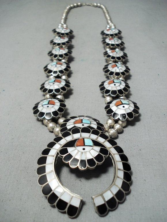 Native American Women's Vintage Navajo Turquoise Sterling Silver Squash Blossom Necklace