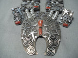 Important Native American Navajo Al Sanchez Coral Sterling Silver Squash Blossom Necklace