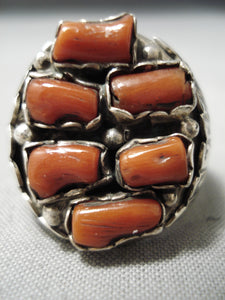 Amazing Vintage Navajo Chunky Coral Sterling Silver Native American Ring