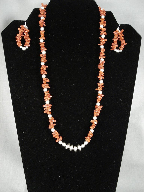 Dramatic Vintage Navajo Coral Collection Native American Jewelry Silver Necklace Earrings-Nativo Arts