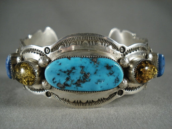 Dramatic Vintage Navajo Turquoise Lapis Trapazoid Native American Jewelry Silver Bracelet-Nativo Arts