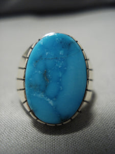 Exquisite Vintage Navajo Turquoise Sterling Silver Native American Ring Old