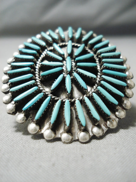 Important Vintage Native American Zuni Needle Turquoise Sterling Silver Ghahate Ring