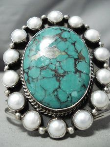 Towering Vintage Native American Navajo Shakey Family Turquoise Sterling Silver Pearl Bracelet